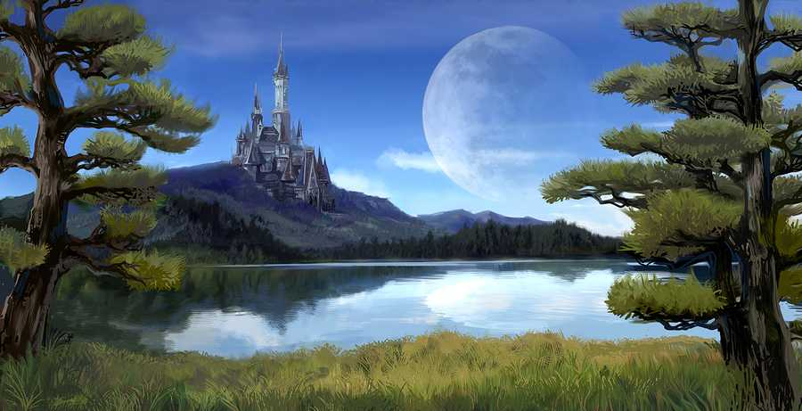 Watercolor fantasy illustration of a natural riverside lake forest landscape with ancient medieval castle on the rocky hill mountain background and blue sky with giant moon scene with fairy tale myth concept.